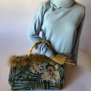Bags - Orchid pattern Bag with Bamboo and Feathers NWOT